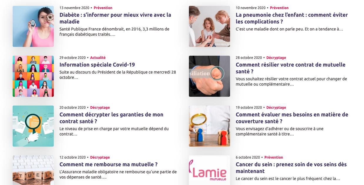 Exemples d'articles de Lamie Mutuelle