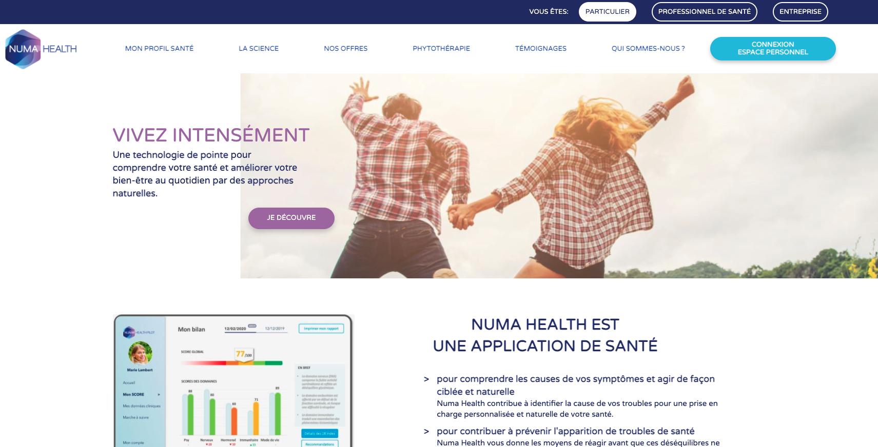 Site internet de NUMA Health