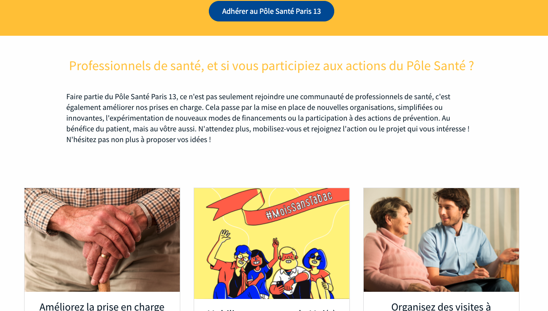 Site internet du Pôle Santé Paris 13